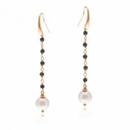 Boucles d'oreilles en bronze plaqué or rose, spinelles et perle de culture