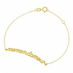 Bracelet en or jaune, maman d'amour