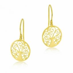 Boucles d'oreilles en or jaune, arbre de vie