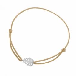 Bracelet en argent rhodié, cordon, feuille