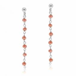 Boucles d'oreilles en argent rhodié et cristaux de synthèse