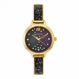 Montre dame, boîte et bracelet en acier doré et cristaux de synthèse, verre minéral