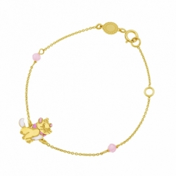 Bracelet en or jaune et laque, cristaux de synthèse roses, Marie Disney