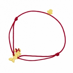 Bracelet cordon rouge en or jaune et laque, Minnie Disney