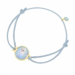 Bracelet cordon bleu ciel en or jaune et laque, La Reine des Neiges Disney