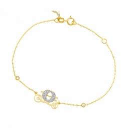 Bracelet en or jaune, oxydes de zirconium et laque pailletée, Princesse Cendrillon Disney