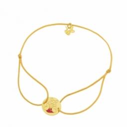 Bracelet cordon en or jaune, Winnie l'Ourson Disney