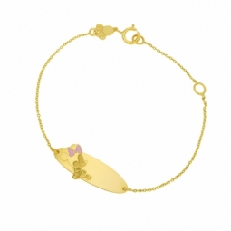 Bracelet identité en or jaune et laque rose, Minnie Disney