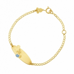 Bracelet identité en or jaune et laque bleue ciel, Mickey Disney