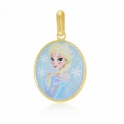 Pendentif en or jaune et laque, La Reine des Neiges Disney