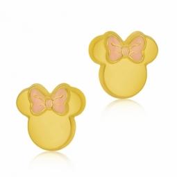 Boucles d'oreilles en or jaune et laque rose et noeud rose, Minnie Disney