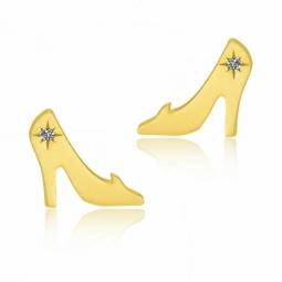 Boucles d'oreilles en or jaune et laque pailletée, soulier Cendrillon Disney