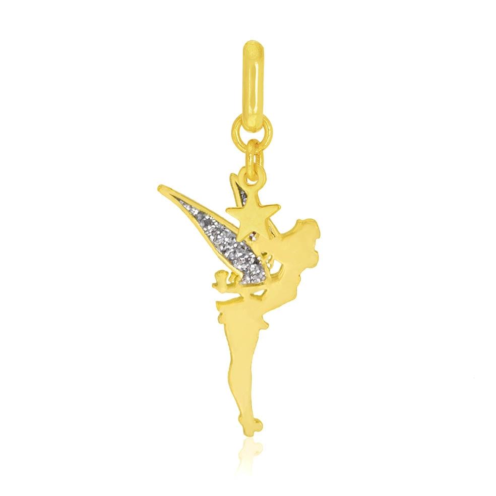 Achat Pendentif En Or Jaune Et Laque Pailletee Fee Clochette Disney Longueur Taille Unique 0 44 G Le Manege A Bijoux