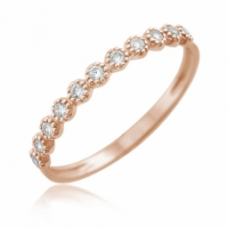 Bague en or rose, oxydes de zirconium