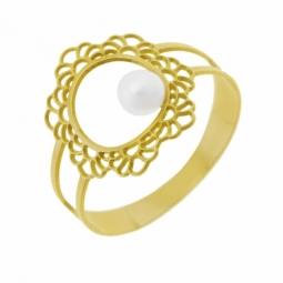 Bague en or jaune dentelle  et perle de culture