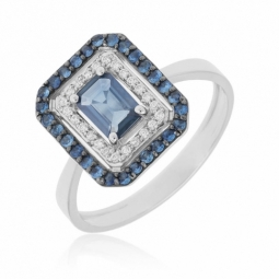 Bague en or gris et rhodié, diamants et saphirs