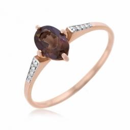 Bague en or rose et rhodié, diamants et quartz fumé
