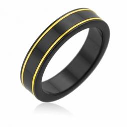 Bague en or jaune et black zircon