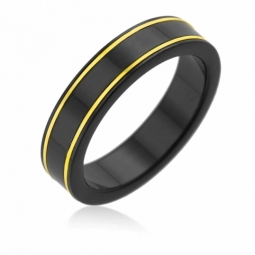 Bague en or jaune et black zircon