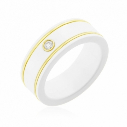 Bague en or jaune et white zircon, diamant