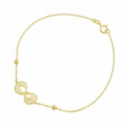 Bracelet en or jaune, motif ajouré et boules or