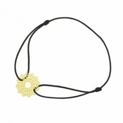 Bracelet cordon noir en or jaune, motif dentelle