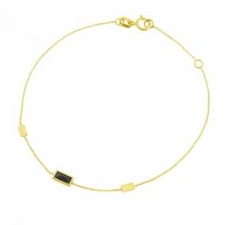 Bracelet en or jaune, cristal de synthese noir