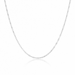 Collier en or gris, maille fantaisie