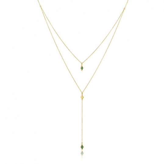 collier double chaine or femme