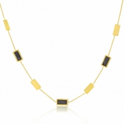 Collier en or jaune, cristaux de synthese  noirs