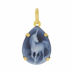 Pendentif en or jaune et camée agate bleue, licorne
