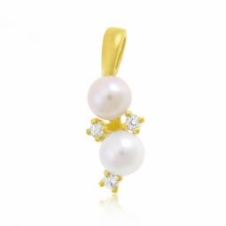 Pendentif en or jaune, perles de culture et oxydes de zirconium