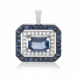 Pendentif en or gris et rhodié, diamants et saphirs