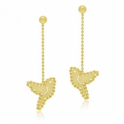 Boucles d'oreilles en or jaune, oiseau