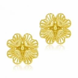 Boucles d'oreilles en or jaune, fleur
