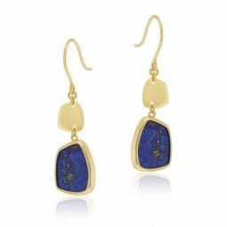 Boucles d'oreilles en or jaune et lapis lazuli
