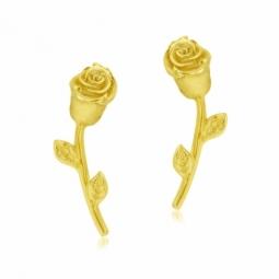 Boucles d'oreilles en or jaune, rose