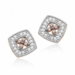 Boucles d'oreilles en or rose et rhodié, diamants blancs et bruns