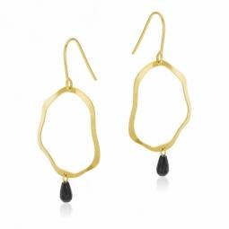 Boucles d'oreilles crochet en or jaune et onyx