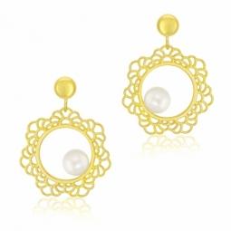 Boucles d'oreilles dentelle  en or jaune et perle de culture