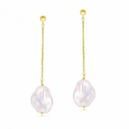 Boucles d'oreilles en or jaune et perle naturelle Keshi