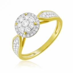 Bague en or jaune rhodié, diamants