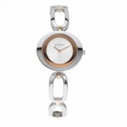 Montre femme, boîte et bracelet en acier et acier doré rose et verre minéral