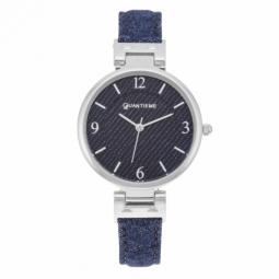 Montre femme, boîte acier, bracelet simili cuir et tissu bleu jean et verre minéral