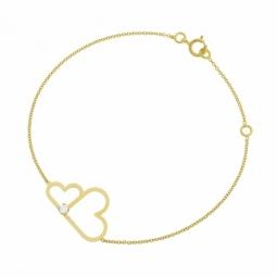 Bracelet en or jaune et oxyde de zirconium, coeurs