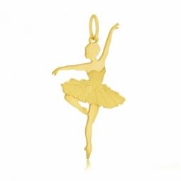 Pendentif en or jaune, mat et lisse, danseuse
