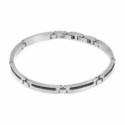 Bracelet en acier et acier noir