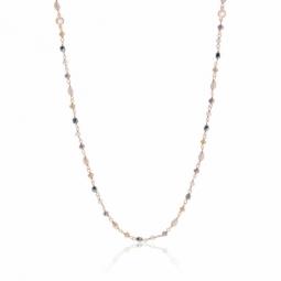 Collier sautoir en argent rhodié rose, cristaux de synthèse