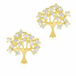 Boucles d'oreilles en or jaune et oxydes de zirconium, arbre de vie