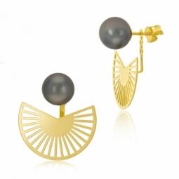 Boucles d'oreilles en or jaune et perle de culture de Tahiti